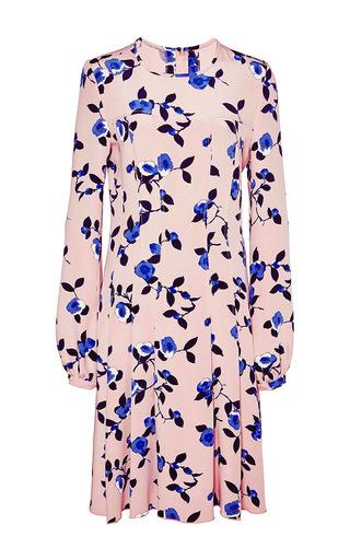 Silk Floral Printed Dress by OSCAR DE LA RENTA Now Available on Moda Operandi