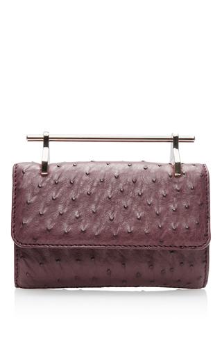Medium m2malletier burgundy mini fabricca ostrich leather bag in red