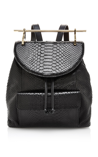 Medium m2malletier black black python and calfskin backpack