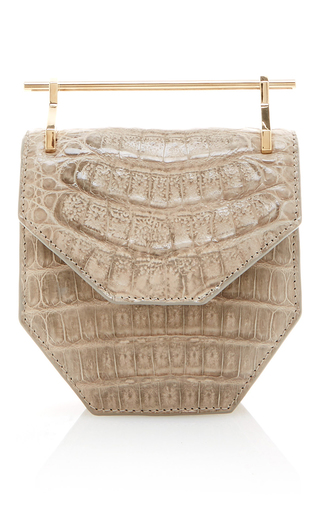 Medium m2malletier light grey mini amor fati crocodile and calf skin bag