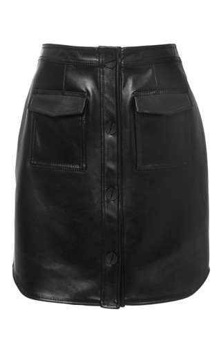 Medium opening ceremony black leather button down skirt