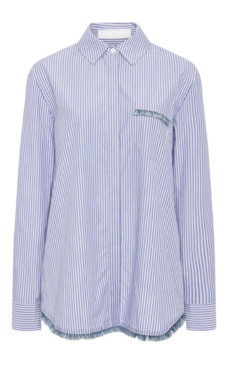 Medium thakoon addition blue striped cotton shirt with fringed detail