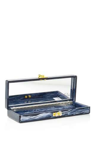 Navy Marble Flavia Usa Acrylic Clutch by EDIE PARKER Now Available on Moda Operandi