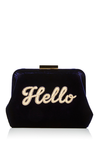 Medium edie parker navy lauren silk velvet hello pochette