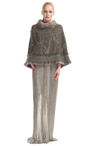Embroidered Cape With Fur Trim By Alberta Ferretti  Moda