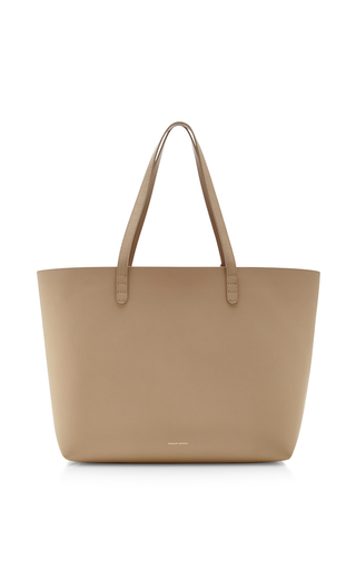 Medium mansur gavriel khaki calf leather large tote in sand with sand  2
