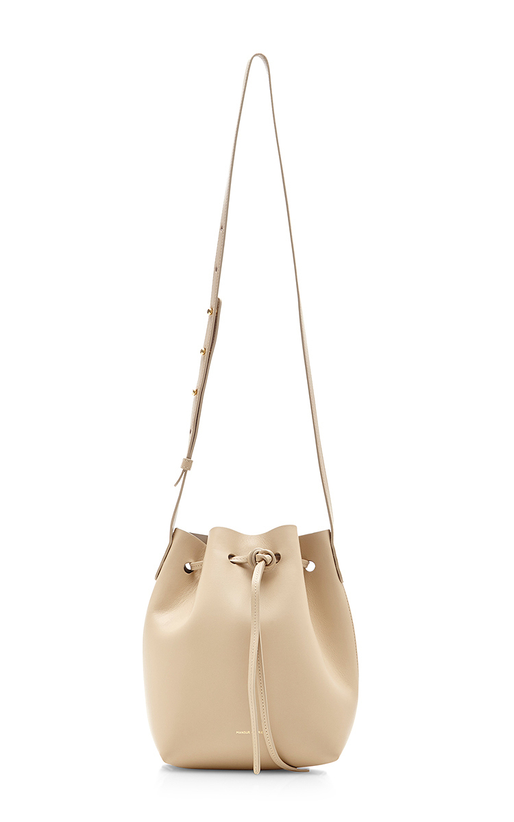 Mansur GavrielCalf Leather Mini Bucket Bag in Sand with Sand. CLOSE. Loading