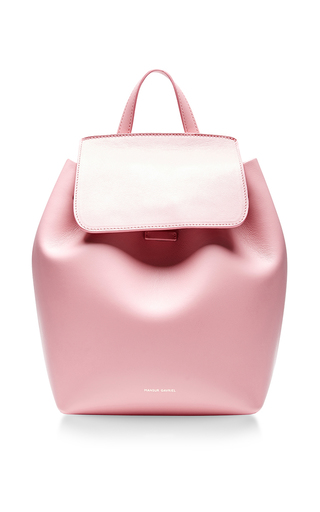 Medium mansur gavriel pink peony pink calf leather mini backpack