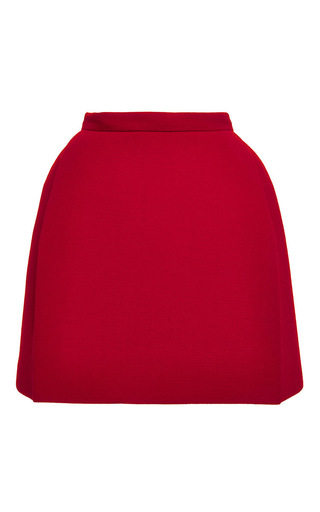 Medium delpozo red pleated double faced wool crepe miniskirt