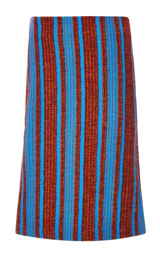 Wool Alpaca Bouclé Striped Skirt by THAKOON Now Available on Moda Operandi