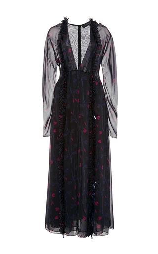 Medium thakoon multi silk chiffon long sleeved midi dress