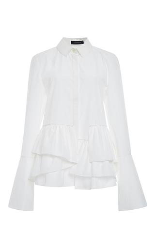 Medium thakoon white white cotton layered peplum button down blouse