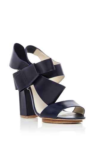 Dark Navy Lambskin Bow Heels by DELPOZO Now Available on Moda Operandi
