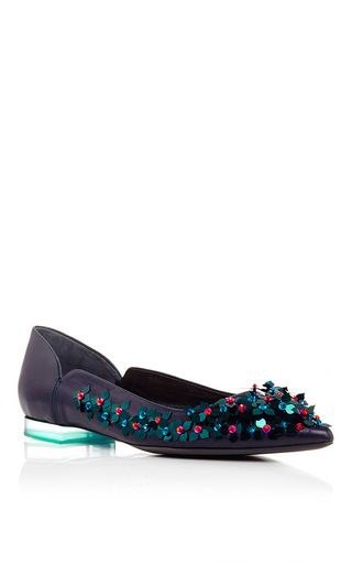 Medium delpozo navy dark navy lamb skin embroidered flats
