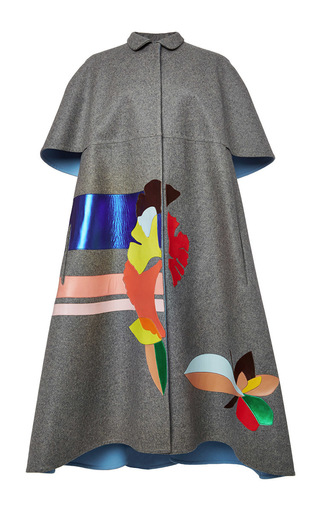 Medium delpozo light grey double faced wool cape with embroidered leather