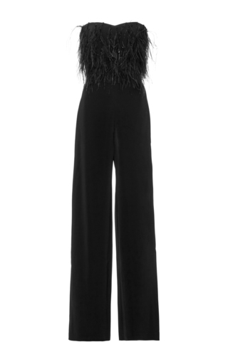 Aurelie Strapless Feathered Jumpsuit  by SALONI Now Available on Moda Operandi