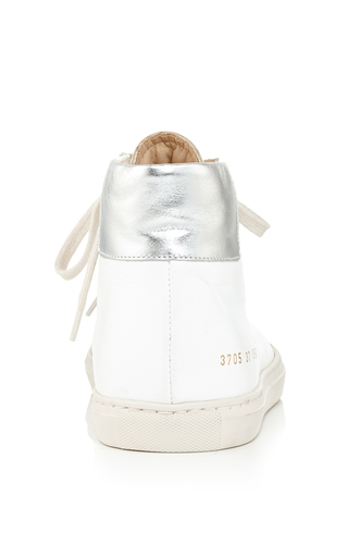 White Calf Leather Achilles High Top Sneakers by COMMON PROJECTS Now Available on Moda Operandi