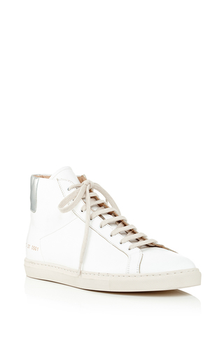 Medium common projects  2 white white calf leather achilles high top sneakers