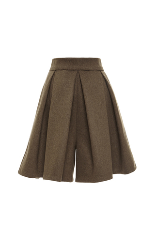 Medium tome olive felted wool paneled culottes