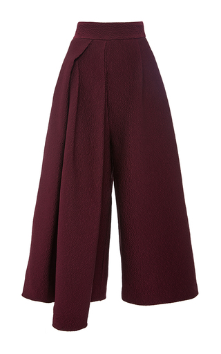 Medium tibi burgundy corazon maroon jacquard side drape culottes