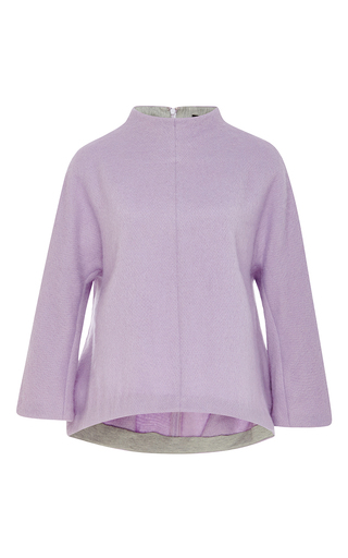 Lavender Wool Blend Cropped Sleeve Top  by TIBI Now Available on Moda Operandi