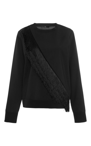 Black Wool Blend Diagonal Fringed Top by TIBI Now Available on Moda Operandi