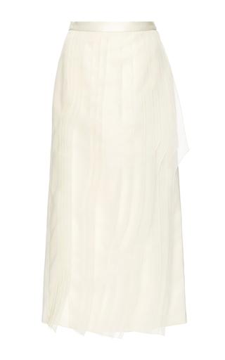 Medium tibi ivory silk organza layered pencil skirt