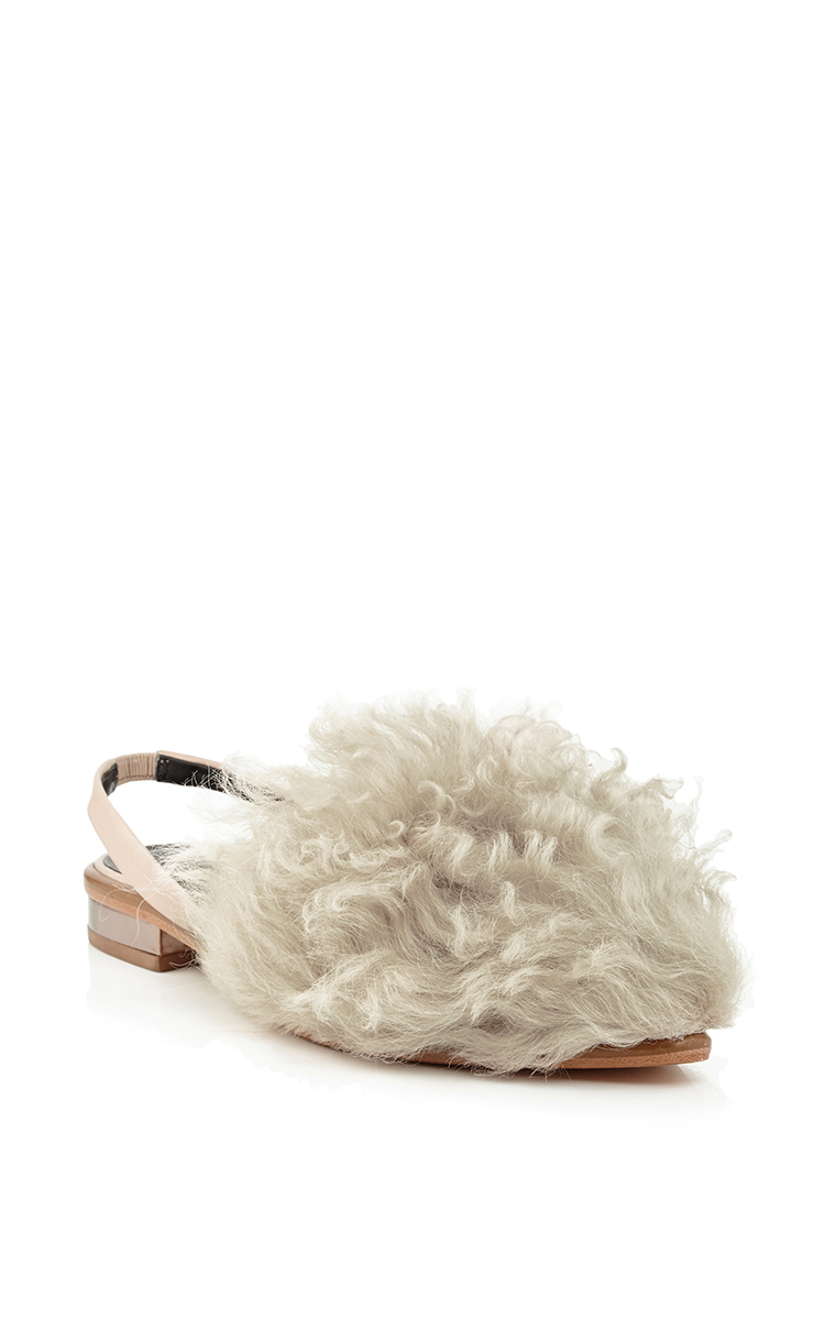 Tibi Shearling Slingback Flats clearance best prices discount under $60 discount sale online free shipping cheap quality QZ6W1n