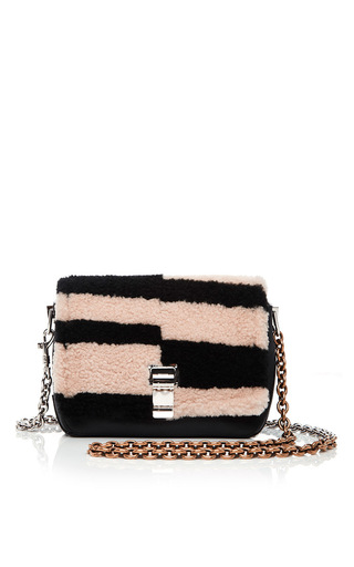 Medium proenza schouler multi shearling and leather blurred stripe small courier bag