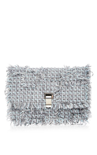 Medium proenza schouler multi calfskin leather and frayed tweed lunch bag clutch