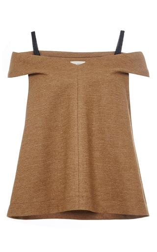 Medium isa arfen brown brown wool blend off the shoulder top