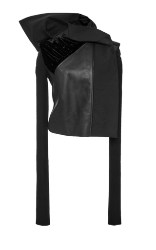 Medium rick owens black mixed material leather and velvet jacket