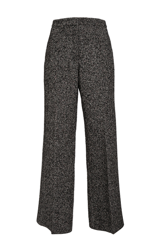 Medium derek lam black cotton alpaca tweed wide legged trousers