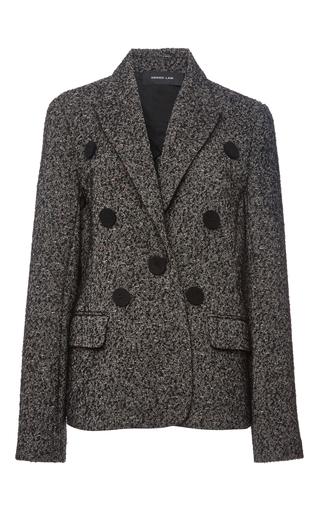 Medium derek lam black wool blend single breasted tweed crepe jacket