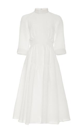 Medium derek lam white cotton gazaar short sleeved plisse dress