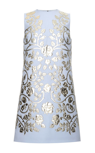 Medium dolce gabbana light blue virgin wool shift dress with laser cut leather applique