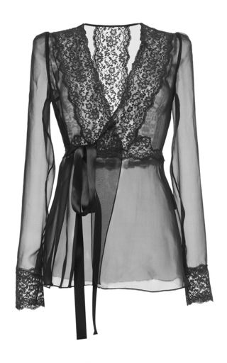 Medium dolce gabbana black silk blend chiffon lace wrap blouse