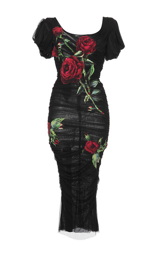 Black Ruched Silk Tulle Rose Dress By Dolce &