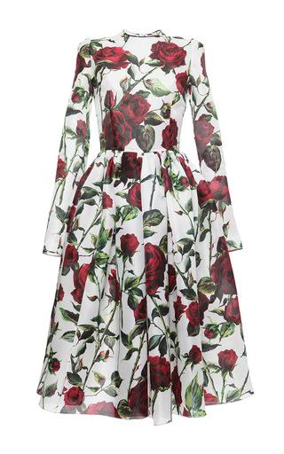Silk Organza Rose Print Dress by DOLCE & GABBANA Now Available on Moda Operandi
