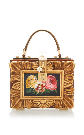 Medium dolce gabbana gold wood and leather floral painting box bag