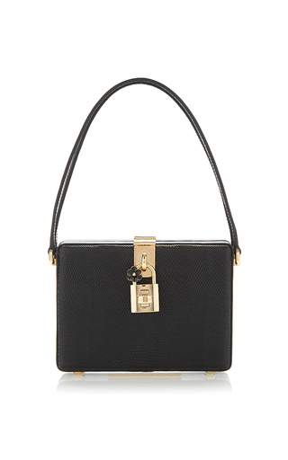 Medium dolce gabbana black black lizard embossed calf leather box bag