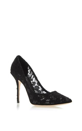 Medium dolce gabbana black black lace pointed toe pumps