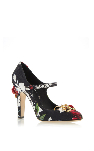 Rose Printed Mary Jane Heels With Charms  by DOLCE & GABBANA Now Available on Moda Operandi