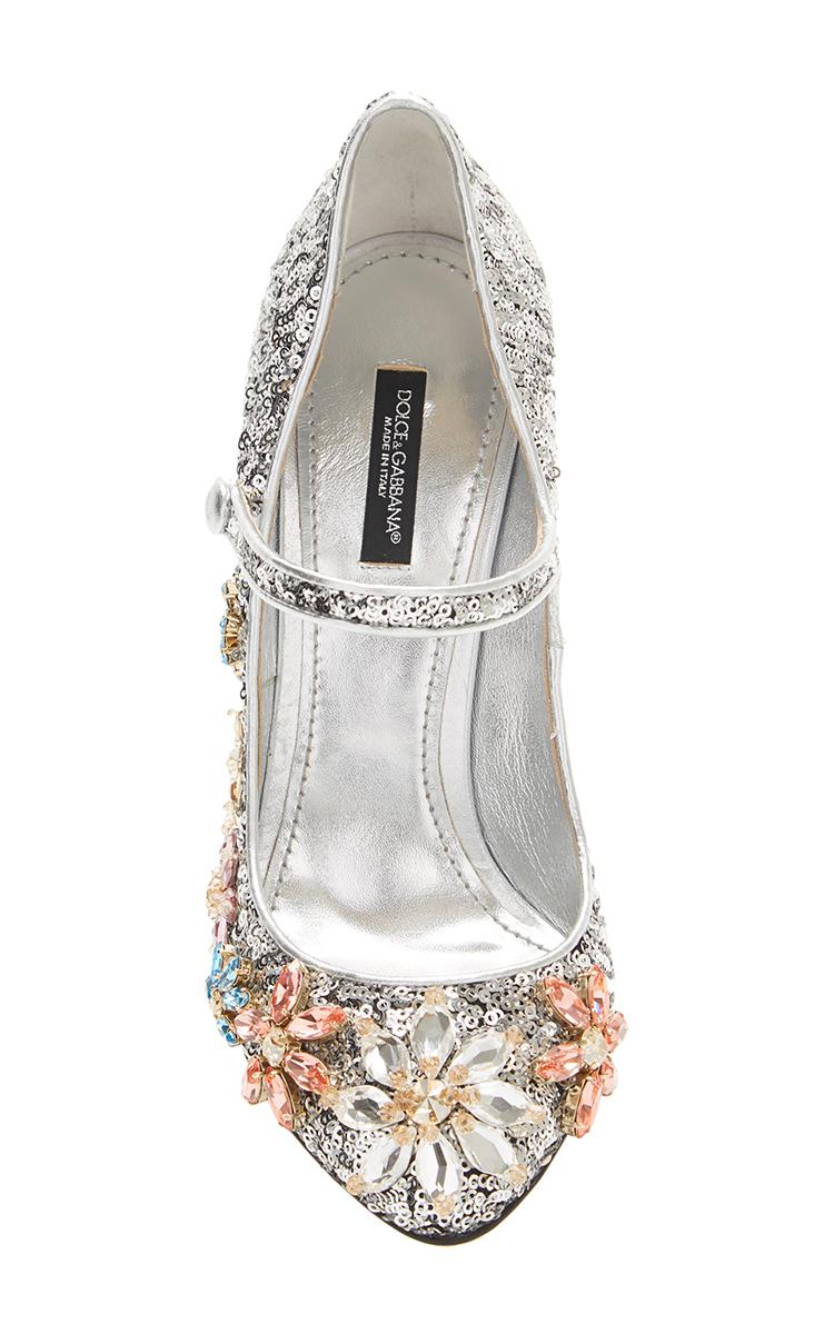 f3794653c10 Silver Sequined Mary Jane With Swarovski Flowers by Dolce   Gabbana ...