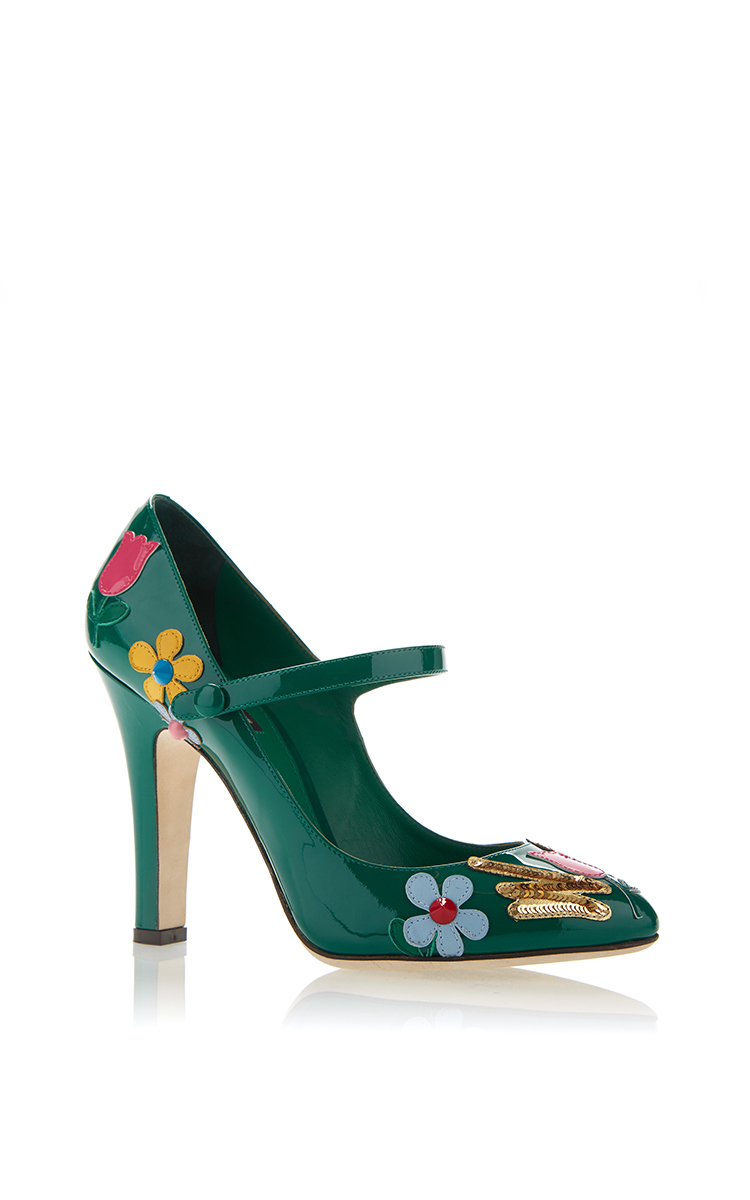b6adaf6a48ab Dolce   GabbanaGreen Patent Leather Embellished Mary Jane Heels. CLOSE.  Loading