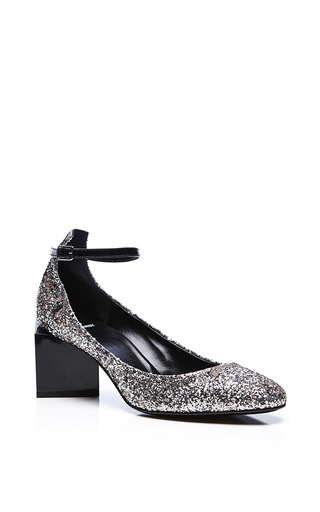 Patent Leather And Glitter Ace Square Heeled Shoes by PIERRE HARDY Now Available on Moda Operandi