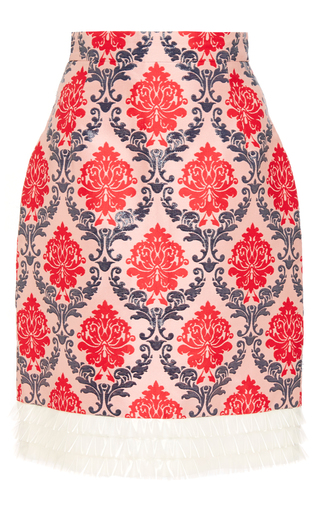 Medium mary katrantzou multi renzie wool brocade skirt with pvc ruffled hem