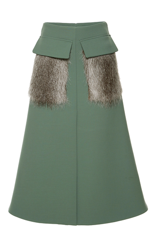 Medium marni green bonded double worsted fur pocket skirt