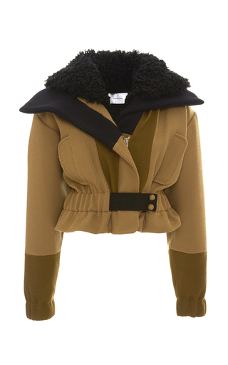 Medium carven brown wool cropped jacket with curly shearling