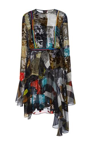 Medium preen multi janice long sleeved ruffle bottom dress